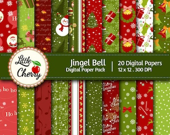 jingel bell - 20 printable Digital Scrapbooking papers - 12 x12 - 300 DPI