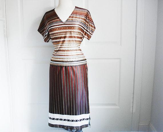 Vintage 70s dress set/ handmade two piece striped suit/ white beige brown chocolate OOAK/ earthy tones/