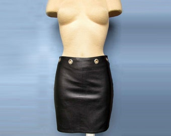 Hot Sexy Black Mini Skirt removable belt 100% Genuine Leather New