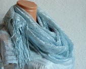 Summer scarf, bluish gray bright sequined scarf, shawl, unique design for 2012, lace scarf for wedding.