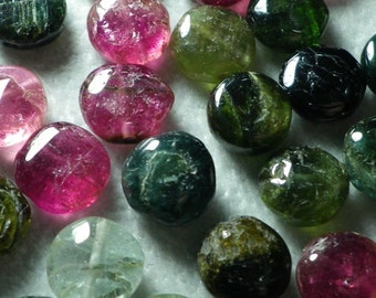 Natural Tourmaline Smooth Puff Coin Beads 8mm-9mm