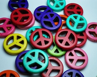Multicolor Turquoise Howlite Peace Sign Beads 15mm