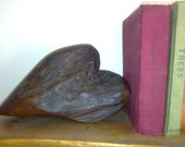 Freestanding Rustic Oak Wood Heart Bookend