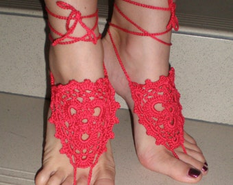 Barefoot sandals, Crochet, red, Summer Shoes, Beach Foot Jewelry, Hippie Sandals, Victorian Anklets