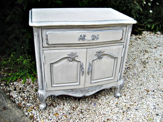 HOLD for Nicole- French Provincial End, Accent Table or Nightstand- Grey & Silver