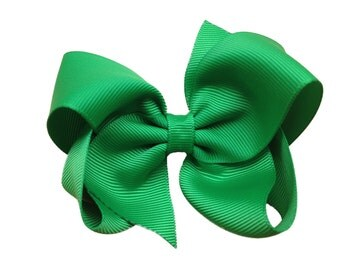 4 inch green hair bow - green hair bows, 4 inch bows, boutique bows, girls hair bows, hair clips, toddler bows, green bows, hair bows