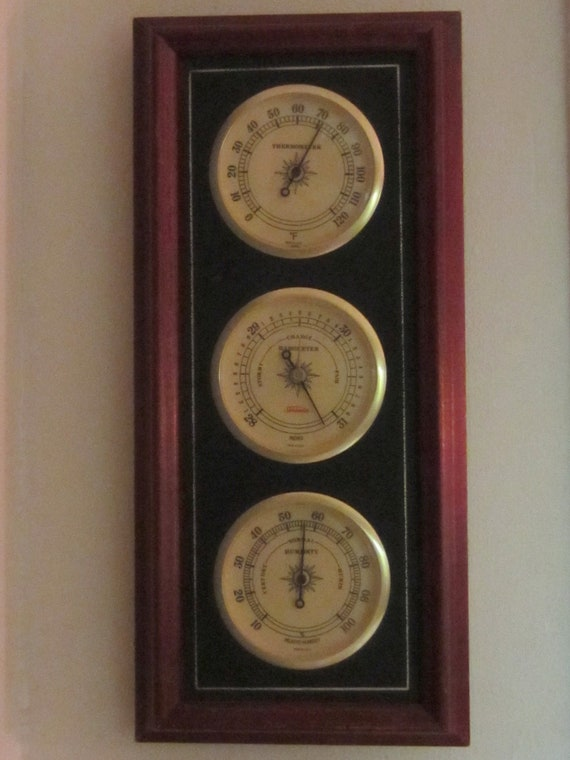 Solid Wood Sunbeam Barometer, Thermometer, Hygrometer Weather Station.....