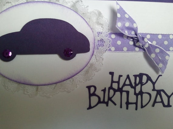 Hand made Purple Car birthday card with lace