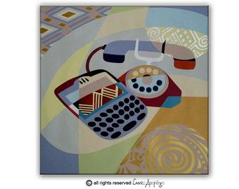 "Vintage Telephone Art on Canvas -  Retro Telephone Original Painting on Canvas -  26"" X 26"""
