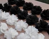 Chiffon Rosette trim, Fabric flowers, chiffon rose petals