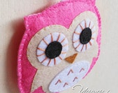 2 pieces Felt owl charm, handmade decoration, party ornament,  available custom made different color