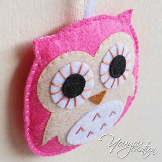 2 pieces felt owl charm handmade decoration party ornament for Handmade decoration pieces