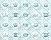 White Light Blue Crowns - Vintage Digital Scrapbooking Paper - Queen King - Printables - 12x12 inches - 300 dpi - Blossom Paper Art - 1228