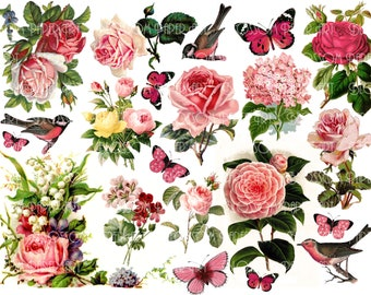 Pink Flowers Collage Sheet - Digital Flowers - Scrapbooking - Printables Images - Scrapbook - Download - 1536