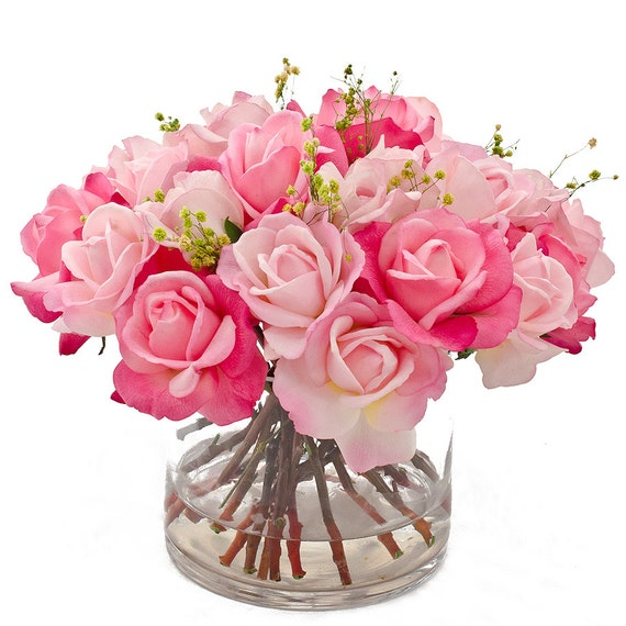 Real Touch Rose Arrangement with Spray Rose Bud Artificial Flowers in Cylinder Glass Vase as Faux Floral Arrangement for Home Decor
