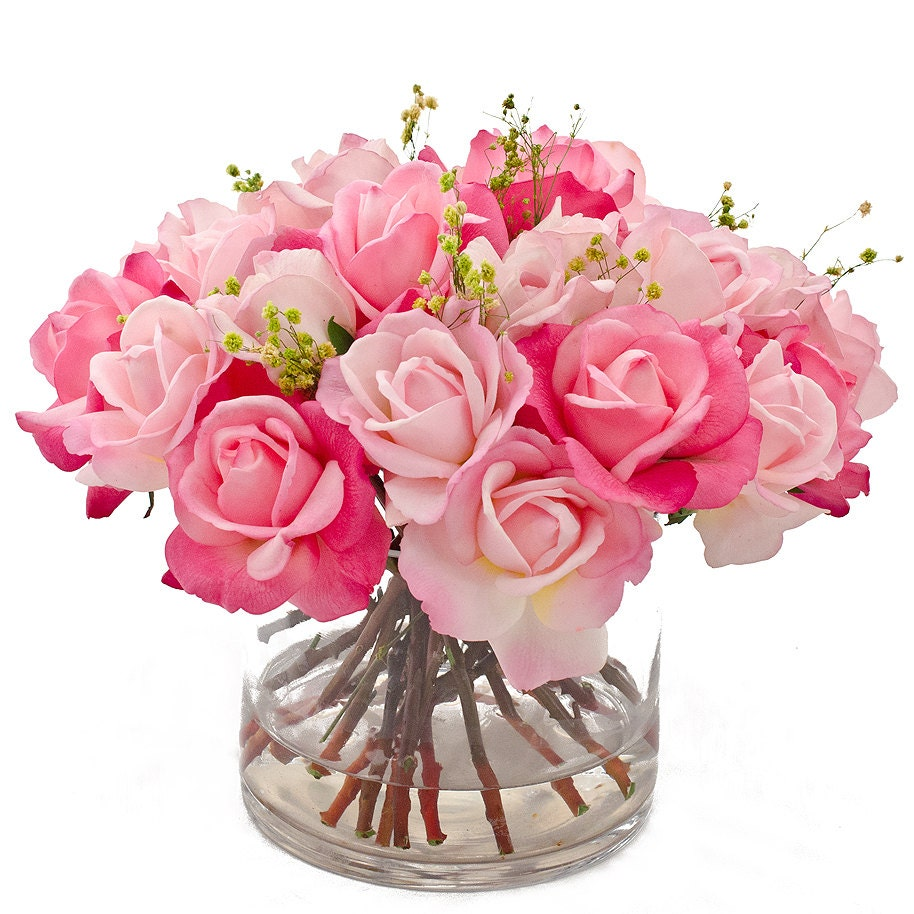 Real touch rose arrangement with spray rose bud artificial for Small rose flower arrangement