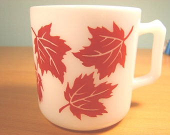 Hazel Atlas Milk Glass Red Maple Leaf Mug