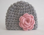 Baby girl Easter Hat,   Beanie gray and pink   flower  Hat