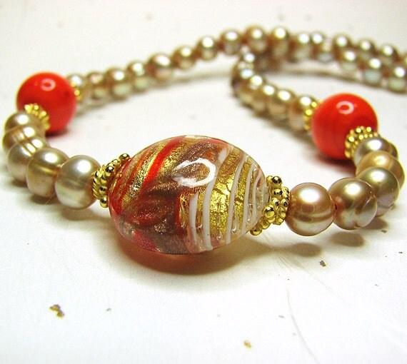 Murano glass necklace Elegant champagne pearl necklace Murano necklace Orange Venetian glass bead necklace Italian Murano jewelry