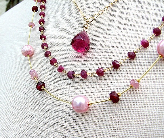 RESERVED for Jennifer  Ruby necklace Pink sapphire pearl necklace Layered necklace Tourmaline gemstone jewelry Multistrand beaded jewelry