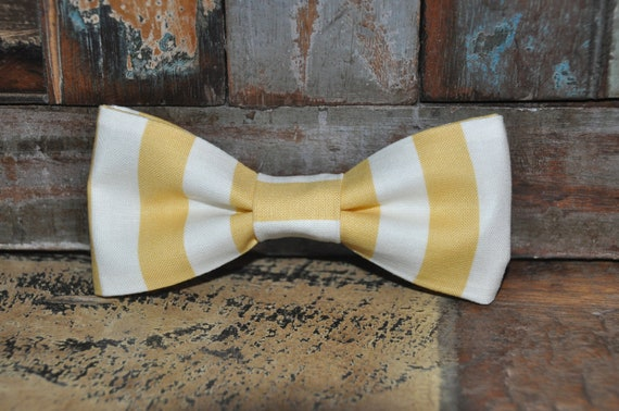adult easy clip on bow tie - yellow and white stripes