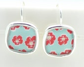 Red & Aqua Earrings | Silver Floral Earrings | Square Lightweight Earrings