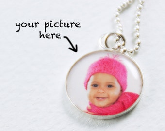 Photo Necklace | Child Baby Photo Pendant | Sterling Personalized Necklace | Photo Charm