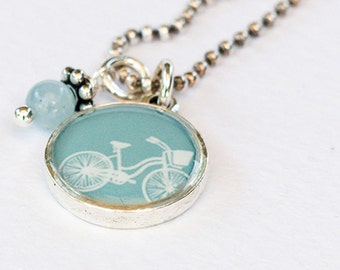 Bike Necklace | Aquamarine Bicycle Necklace | Antiqued Silver Bike Pendant