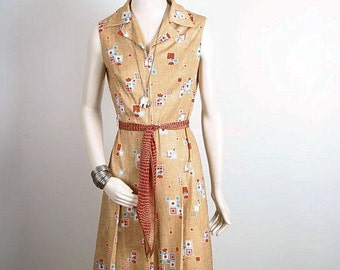 Summer dress vintage beige orange pleated 1960s 1970s women size S small