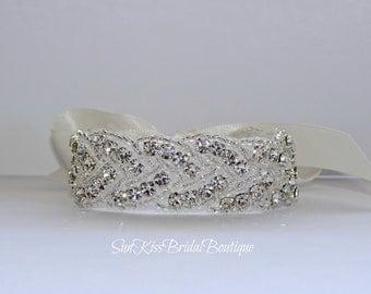 MAYA2 Braided Bridal Crystal Bracelet Rhinestones Beaded Bracelet,Cuff