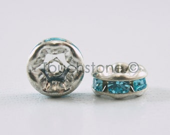 6mm Aqua Crystal Rondelle Spacer Beads