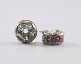 5mm Light Rose Crystal Rondelle Spacer Beads #-