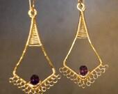 Amethyst filigree drop earrings Kashmir 30