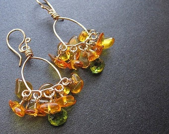Hammered drop hoop earrings amber peridot Caalypso 32
