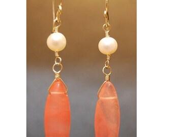 Ivory Pearl & Cherry Quartz Earrings Victorian 169
