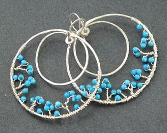 Hammered double hoops with turquoise Bohemian 57