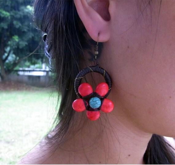 Earrings Flower Red Stone Handmade in Thailand Fair Trade  (E026-R)