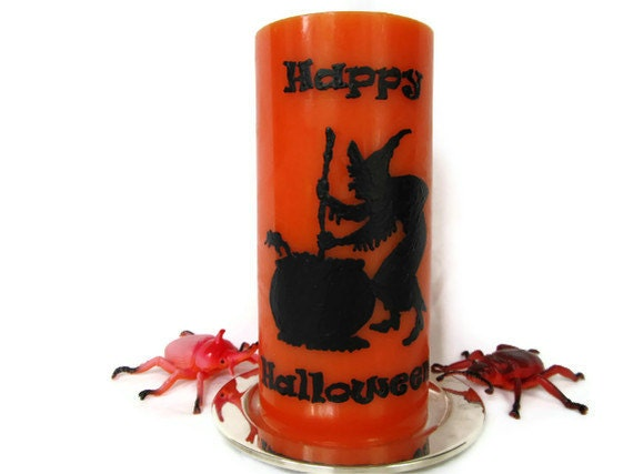 SALE - Witch Halloween Candle - Decorative Orange Seasonal Candle - Unscented - Hand Poured - Black on Orange