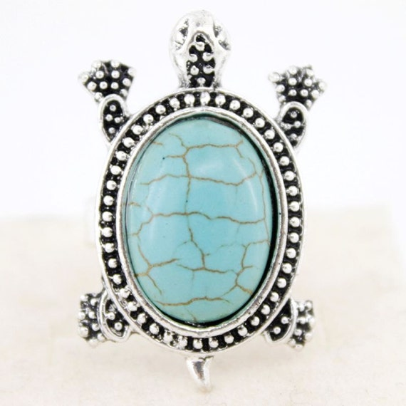 New Silver-tone Natural Turquoise Stone Turtle Ring,Adjustable