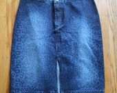 Rad tight high waisted pencil skirt slit faded dark denim cheetah print