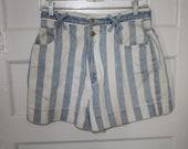 Rad Striped Light Denim and White Shorts