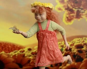 Orange summer. Living Doll OOAK art doll .
