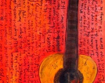 Iconic Guitar Art. Willie Nelson Martin Acoustic guitar. Trigger art print. 11x17 Guitar Art. Acoustic Guitar.