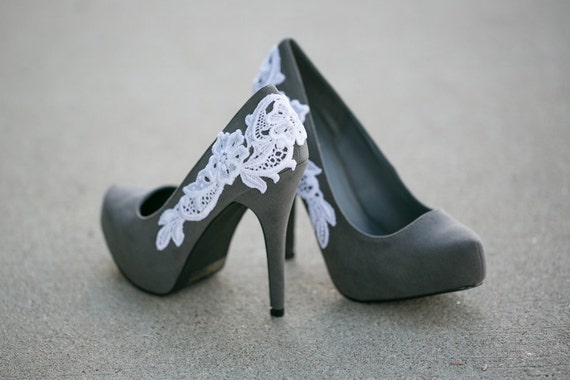 Grey Pumps, Grey heels, Grey Shoes with White Lace Applique. US Size 6