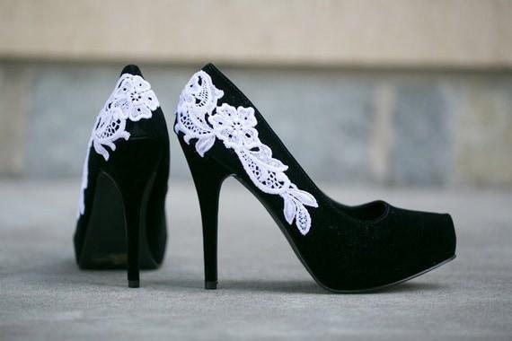 SALE. Black Shoes - Black Heels/Black Pumps with White Lace. US Size 8.5