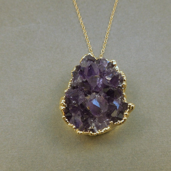 Amethyst Druzy Crystal Necklace - Amethyst edged in gold Drusy Pendant