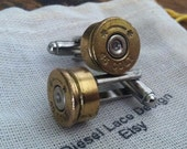 Bullet cufflinks Colt 45 silver tone backings handgun groomsmen wedding cuff links men