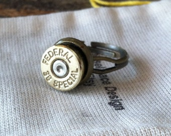 Bullet ring 38 special Adjustable upcycled recycled handmade bullet jewelry mens ring or womens ring