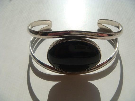 Silver Cuff with Onyx