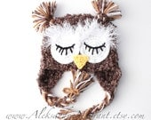 SLEEPING OWL BABY hat  - brown - newborn - baby - photo prop - acrylic/boucle  - Made To Order